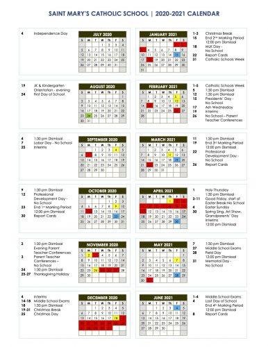 2020-2021 School Calendar Image