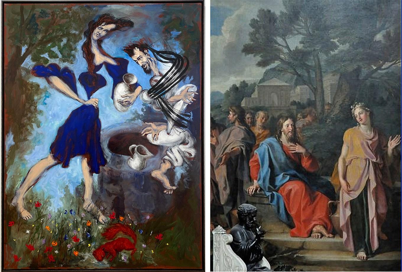 Jésus et la Samaritaine selon Géréd Garouste (2020) et Noël Coypel (1683)