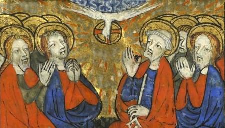 La Pentecôte, enluminure du Livre d'heure de Béatrice de Rieux, c.1390, bibliothèque de Rennes