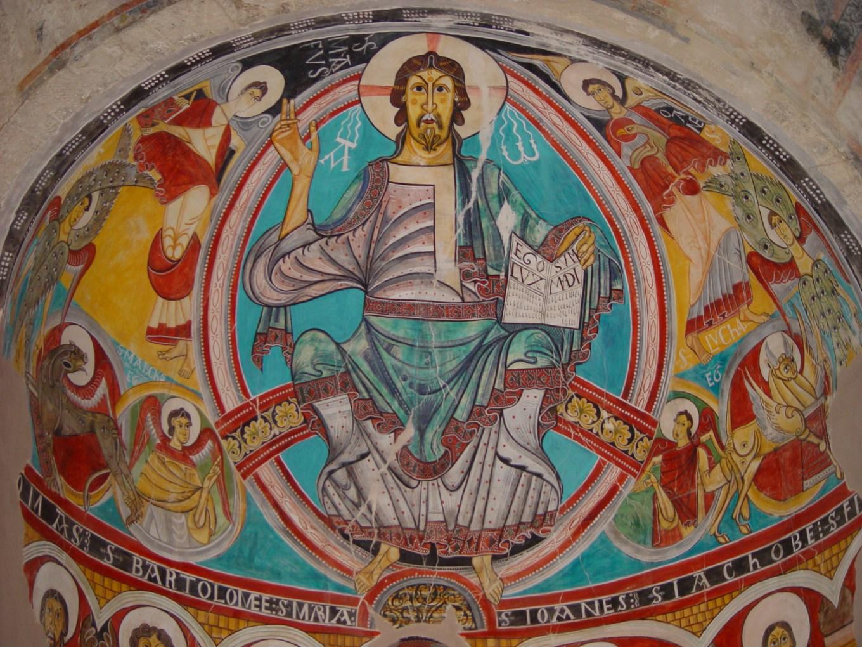 Christ en majesté, fresque, Saint-Clément de Taüll, Espagne