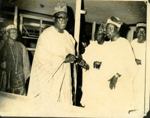 Dr Moses .A. Majekodunmi shaking hands with Sir Kofo Abayomi