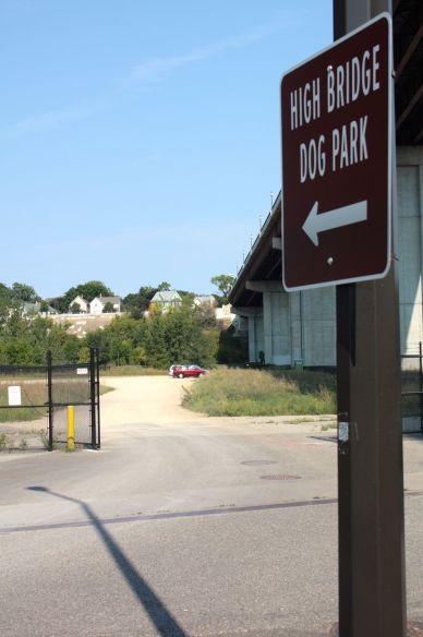 The High Bridge Dog Park, in the shadow of the High Bridge.