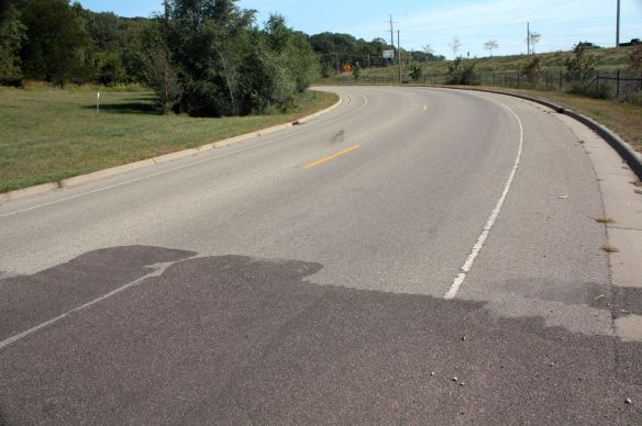 The pavement change is the only visual of the border of Saint Paul and Newport on Point Douglas Road.