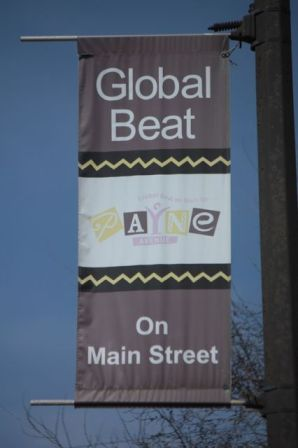 Global Beat banners line Payne Avenue.
