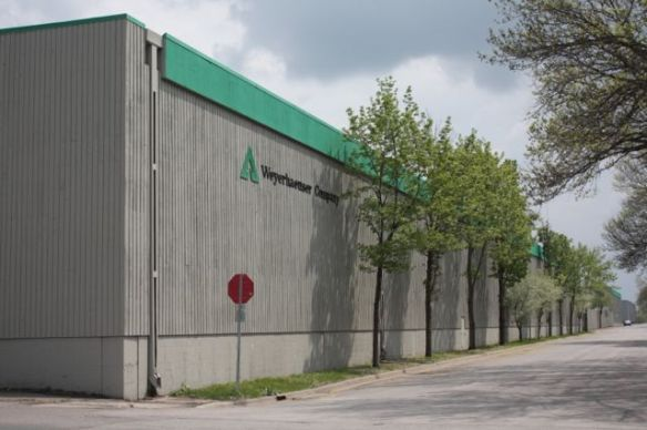 The Weyerhaeuser Service Center and Distribution facility as seen from the intersection of Emerald and Franklin, looking south.