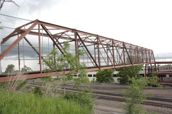 The Hamline Avenue pedestrian bridge carries bikers and walkers over the heavily used BNSF railroad tracks.