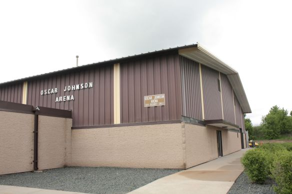 Oscar Johnson Arena sits on the very short DeCoursey Circle, just off Energy Park Drive.