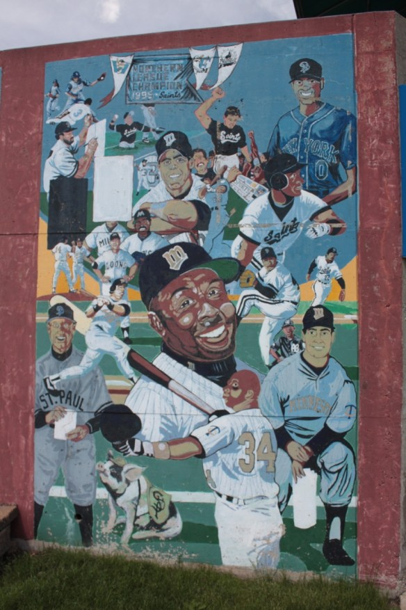 This mural is one of many at Midway Stadium highlight the history of baseball in the Twin Cities.
