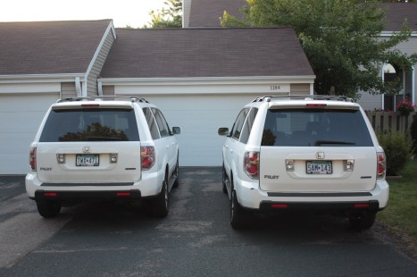 No, you don't have double vision, it's a pair of Honda Pilots parked in front of one of the Wilder Park town homes.