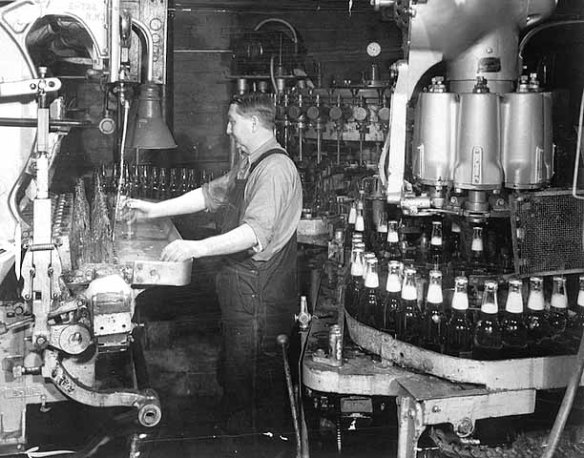 The bottling line at the Schmidt Brewery. Courtesy Minnesota Historical Society
