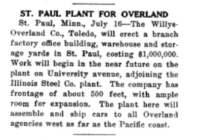 A story in the July 22, 1915 edition of Motor Age magazine announcing the Willys-Overland Building