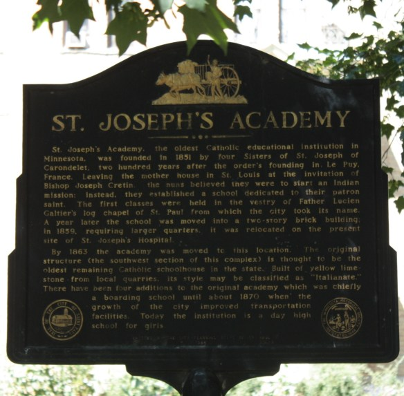 A historical marker with a brief history of St. Joseph's Academy.