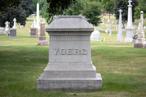 Likely the marker of another early Saint Paul brewer, Anthony Yoerg and family.