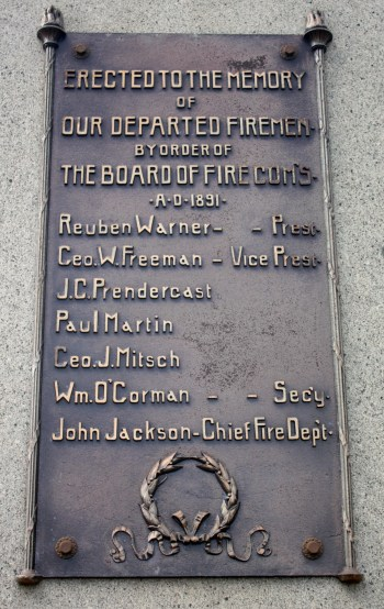 A plaque on the Firefighters Memorial.