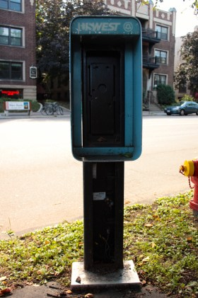 This shell is all that remains of a public pay phone near the intersection of Dale and Grand.