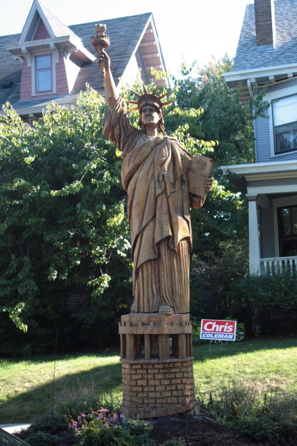 Another tree-turned-sculpture. The late Dennis Roghair, World Champion chainsaw sculptor, created the Statue of Liberty in 2006.