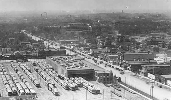 The Snelling-University intersection and streetcar shops in the mid-1920s. Photo courtesy of the Minnesota Historical Society.