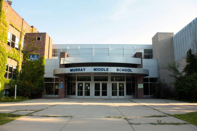 The main entrance of Murray Middle School, added in 1999. The original portion of the building is to the left and a later addition includes the section to the right of the entrance.