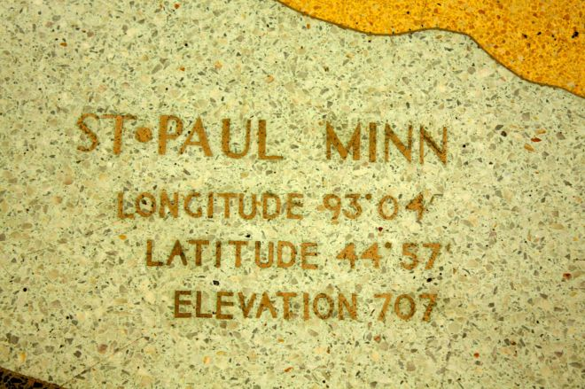 Saint Paul's vital statistics on the terrazo map.