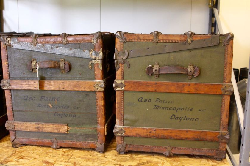 Two of the antique European steamer trunks at the MHS Records Center.