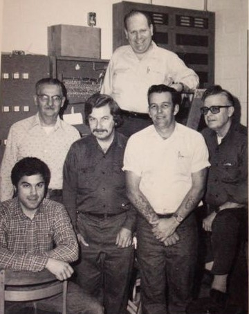 John Gelao, front left, and the other Central custodians from the 1979-80 school year.