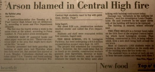 The fire at Central was big news in the May 14, 1980 edition of the Saint Paul Pioneer Press newspaper.