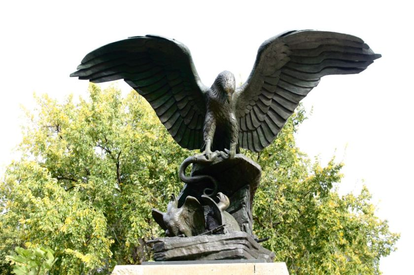 The bronze New York Life Eagle was moved to Summit Overlook Park in 2004.