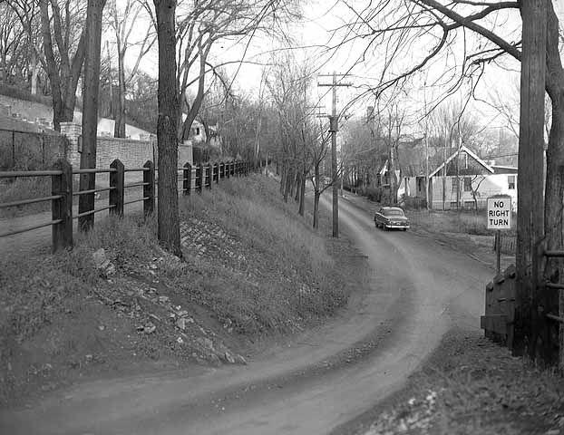 Irvine Avenue was 'unimproved' in city jargon in 1950 when this picture was taken. Courtesy Minnesota Historical Society & St. Paul Dispatch