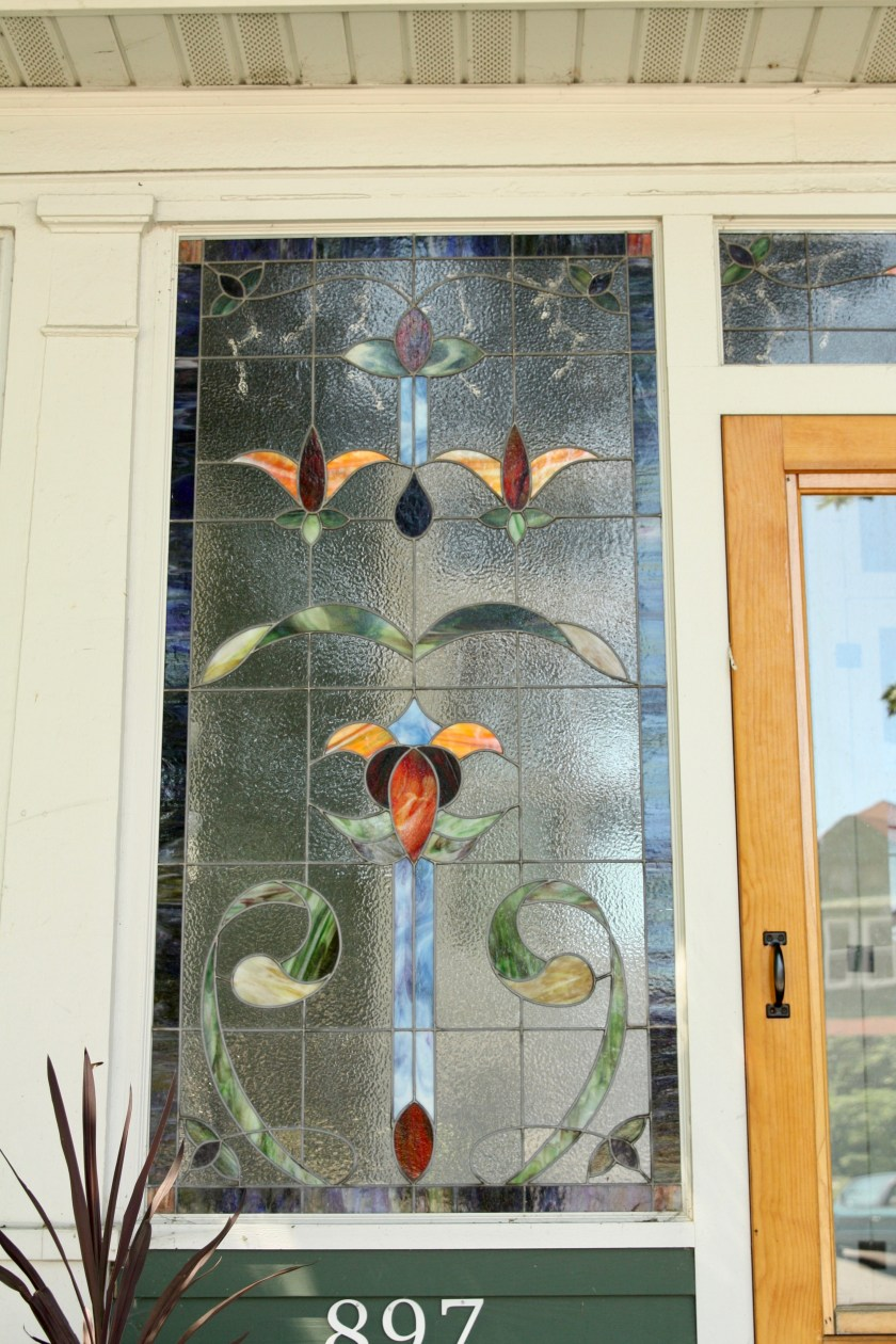 One of the gorgeous stained glass window at 897 Raymond Avenue.