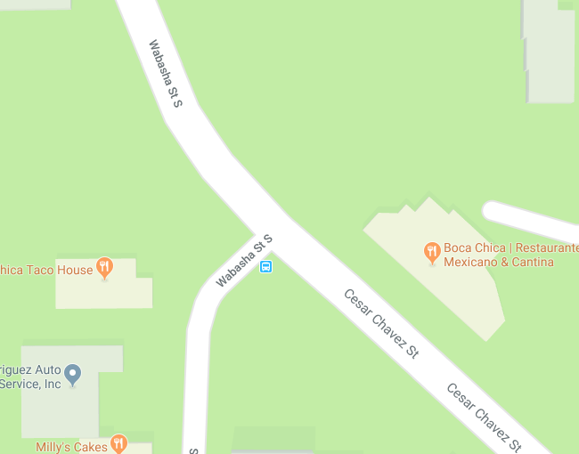 The intersection of Wabash, Cesar Chavez and Wabasha. Courtesy Google Maps
