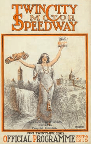 The cover of the official program of the September 4, 1915 500 mile race at Twin City Speedway. Courtesy progcovers.com