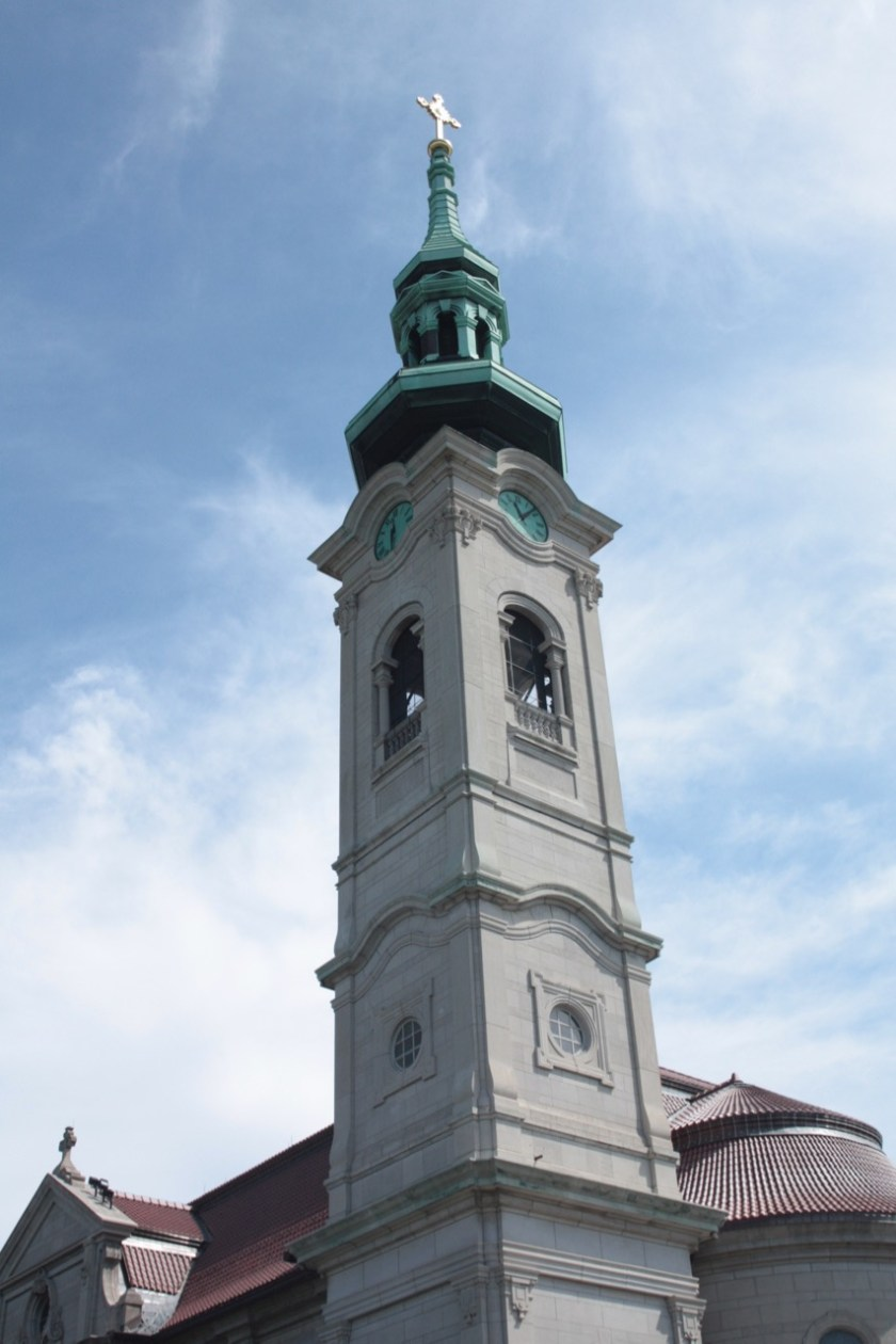 The bell tower, on the southwest corner of the church building at Thomas and Kent Street, is really the back of the church.