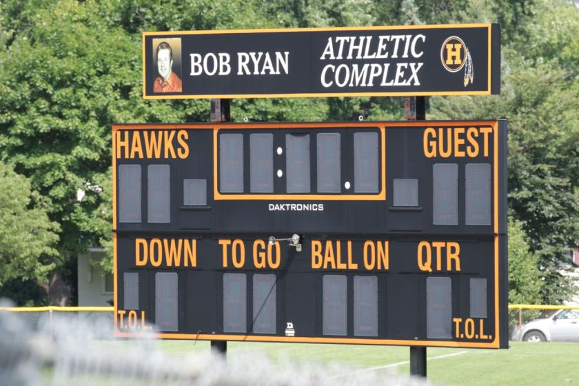 The scoreboard still has a logo from when Humboldt was known as the Indians. The mascot was changed to Hawks for the 1992-93 school year.