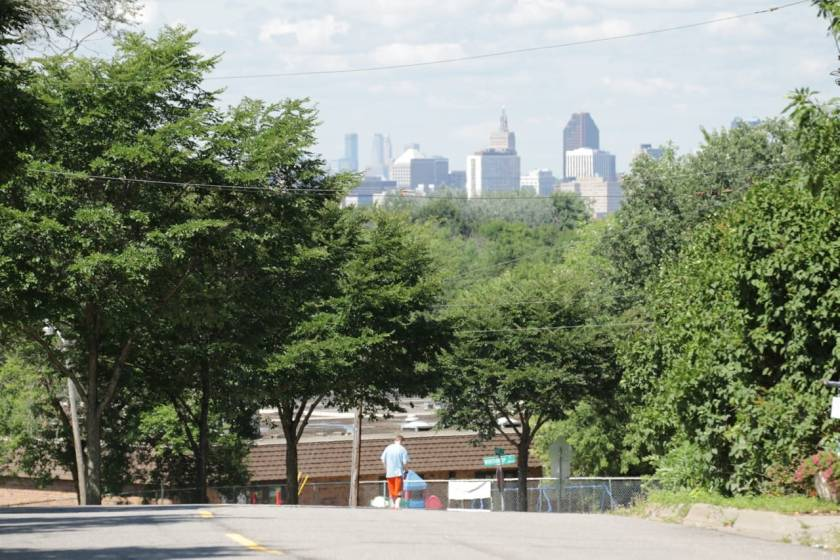 There's an awesome view of Downtown Saint Paul, and behind it, Minneapolis, from Londin Lane.