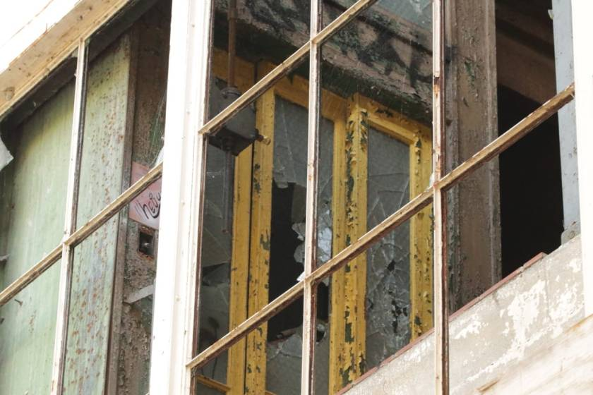 Time, nature and worst of all, looters, have battered an elevator inside the steam plant.