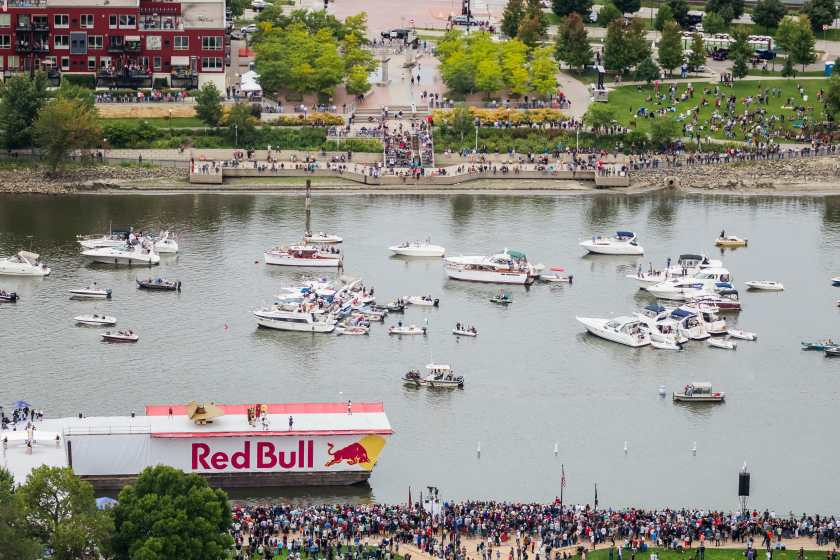 An aerial view of the Flugtag site in Downtown Saint Paul on September 7, 2019. Photo courtesy Jules Ameel / Red Bull Content Pool