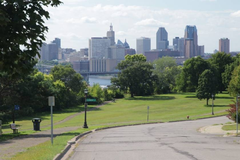 The best view of the skyline of Downtown Saint Paul is from Indian Mounds Regional Park. Mounds Boulevard, in the foreground, curves toward the north. You can see where Clermont Avenue starts or ends, depending upon your perspective.
