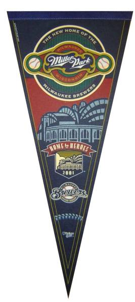 This Miller Park pennant from 2001 features the same logo that is partially covered on the garbage can, above.