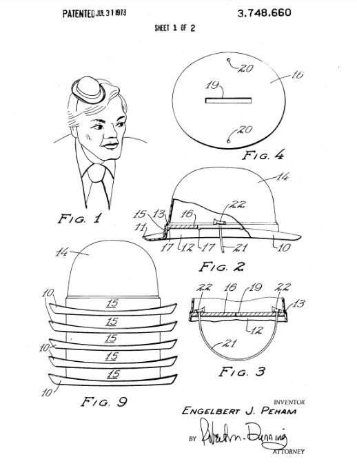 In March 1971, Peham applied for a patent to turn plastic mini-hats into coin banks, while still allowing the hats to be stacked for easy shipping and storage.