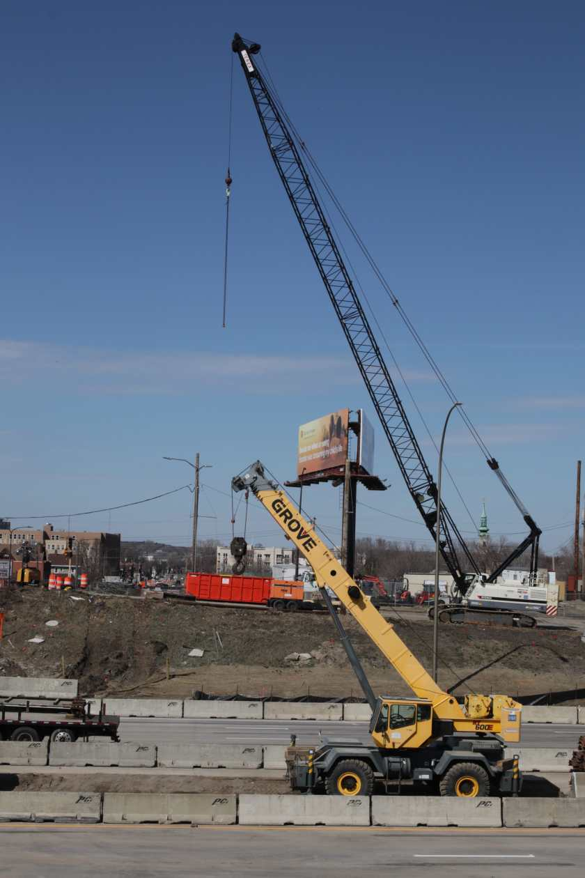 Two cranes reach for the sky!