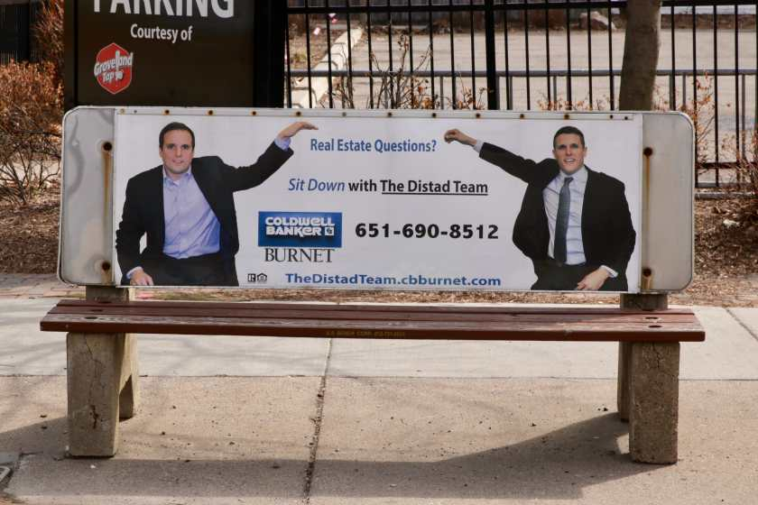 I am sure the Distad brothers are great guys and fine realtors, but this billboard is the definition of AWKWARD! St. Clair Avenue at Fairview Avenue on April 5, 2020.