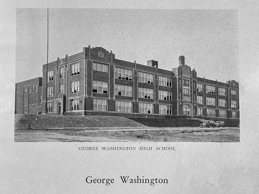 Washington High as pictured in the 1932 President yearbook. Note the two cars on Marion Street in front of the school. Courtesy SPPL
