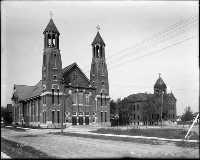 The Church of St. Bernard and its school circa 1910. Courtesy MnHS