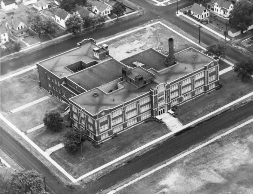 An aerial shot of what was George Washington High School in 1949. Photo courtesy MnHS