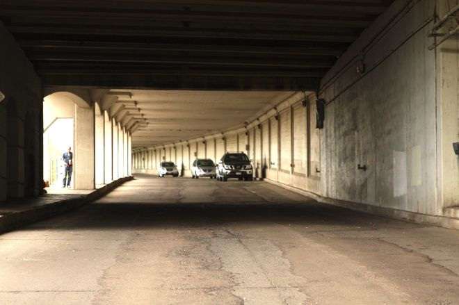 In reality, there is plenty light as 2nd Street passes under the viaduct.