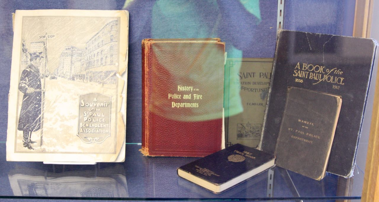 A display of some of the older books and publications related to the police department.