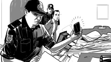 Tunisian authorities are confiscating and searching the phones of men they suspect of being gay. (Illustration courtesy of HRW)