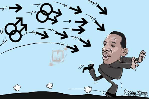 In a Tanzanian editorial cartoon, fleeing Dar es Salaam regional commissioner Paul Makonda is under attack from gays and straight arrows. (Cartoon courtesy of The Citizen)