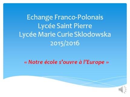 Echange franco polonais 2015 2016 1