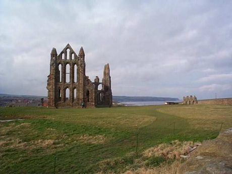 The ruins of the later Whitby Abbey probably built upon St. Hilda's original monastery of Streonsahalh where Aelflaed was the next Abbess